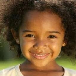 mixed-race girl's hair