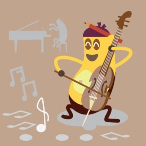 cartoon cellist